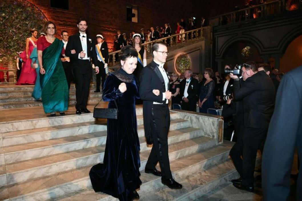 Kronprins Daniel tillsammans med Olga Tokarczuk på Nobel 2019