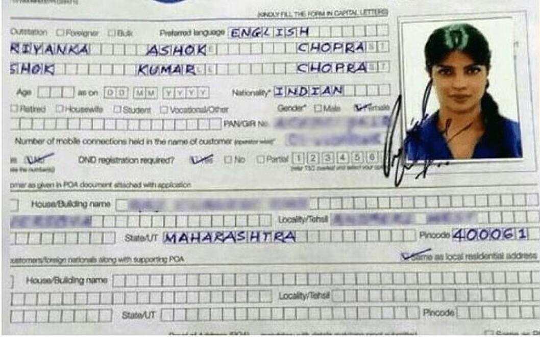 priyanka chopra ansökan om ID-handling