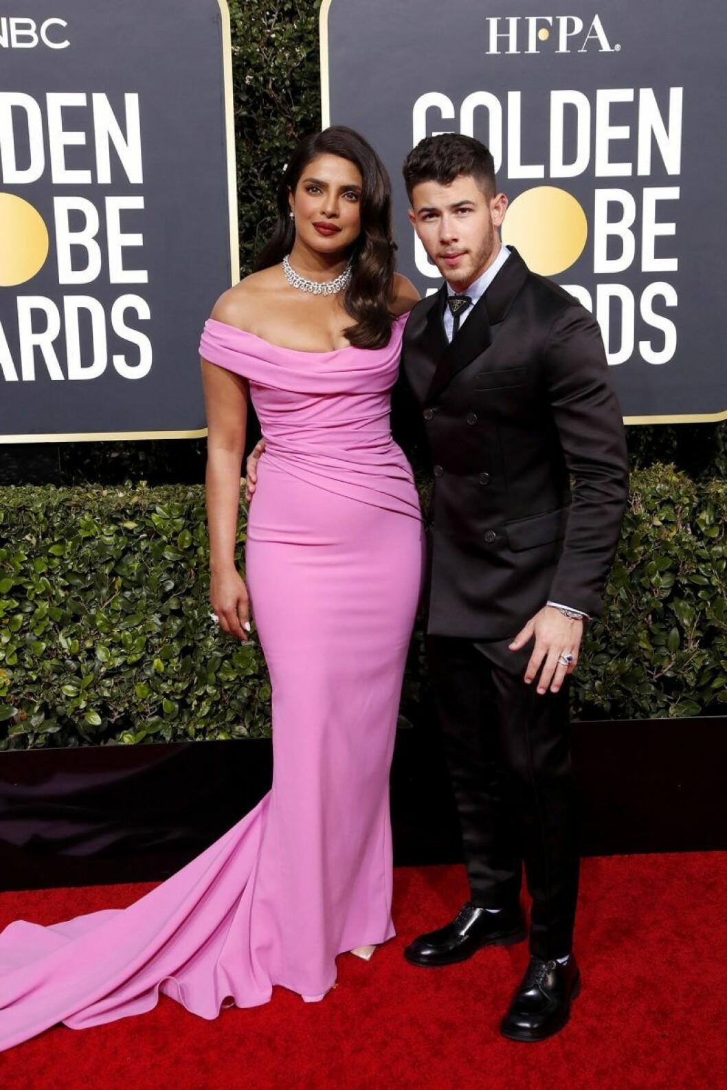 Priyanka Chopra och Nick Jonas på Golden Globes