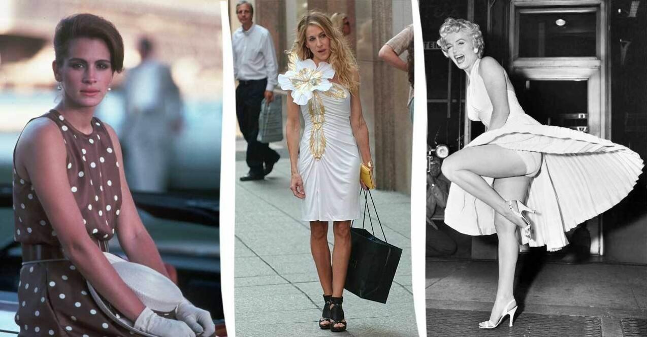 Tre bilder från tre olika filmer. Samtliga bilder föreställer en kvinnlig skådespelerska i en ikonisk filmoutfit. Från vänster: Julia Roberts i Pretty woman. I mitten Sarah Jessica Parker i Sex and the City, The Movie och till vänster Marilyn Monroe i Flickan ovanpå.