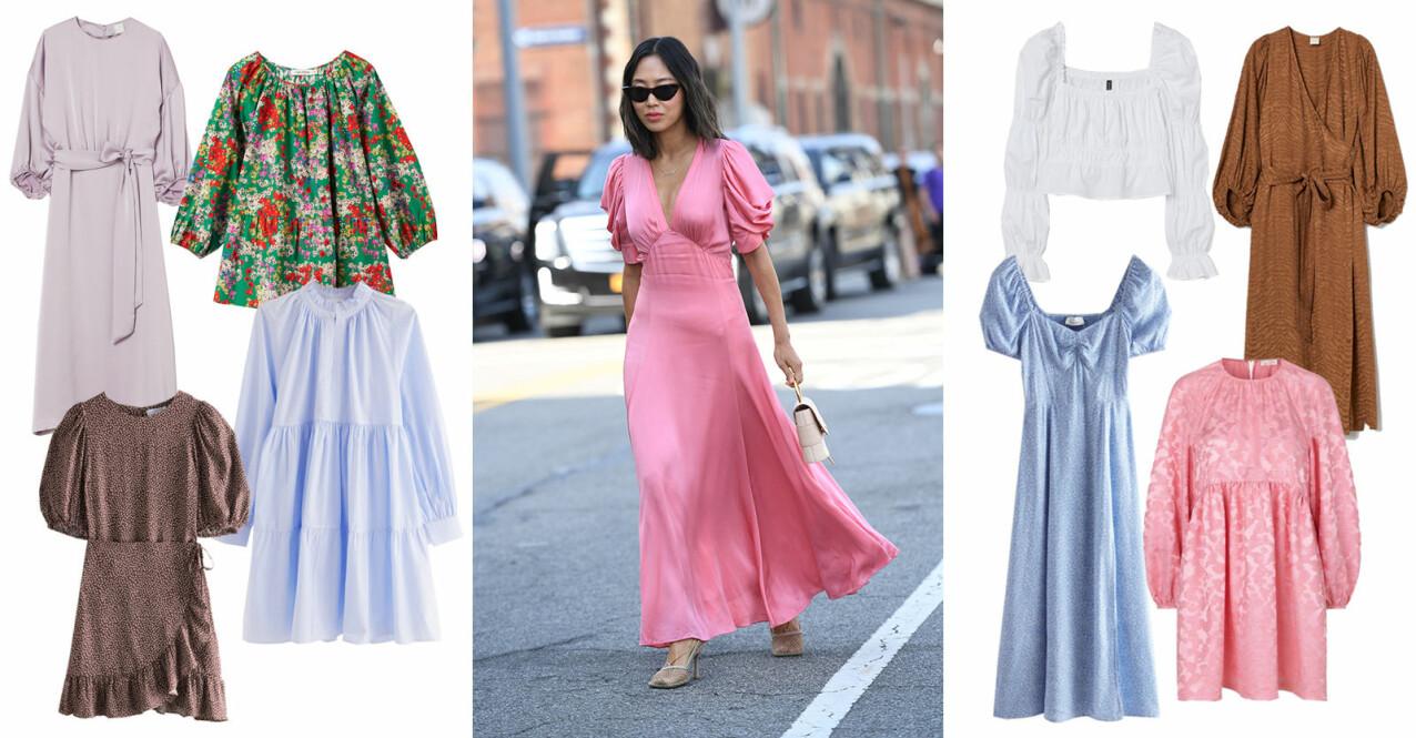 klänningar och toppar med puffärm vår sommar 2021
