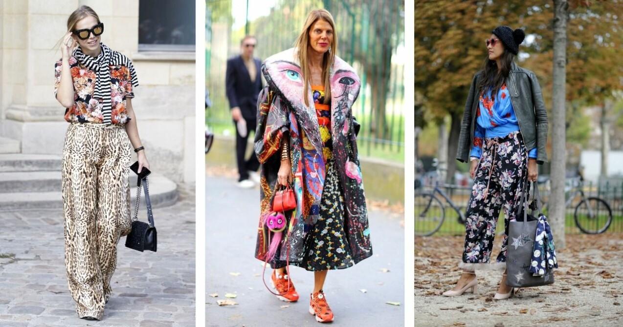 Street style bilder på 3 tjejer som alla har blandat olika, färgglada mönster i sina outfits.