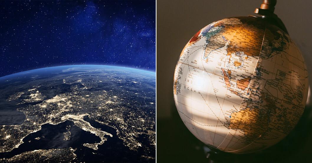 Jorden från rymden och jordglob