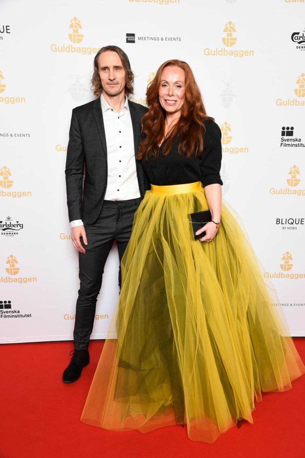 Rachel Mohlin och Håkan Messing på röda mattan på Guldbaggegalan 2020
