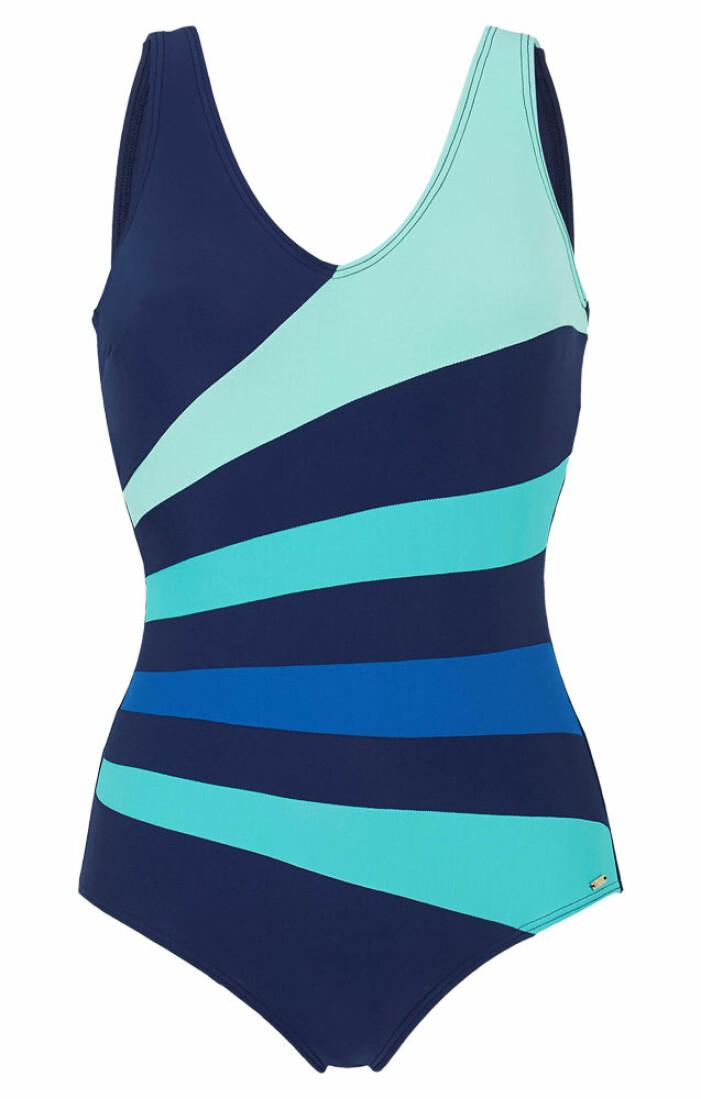 blå baddräkt med mönster