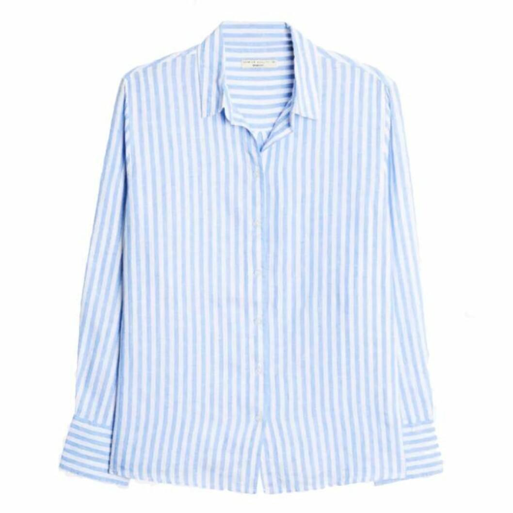 Randig linneskjorta