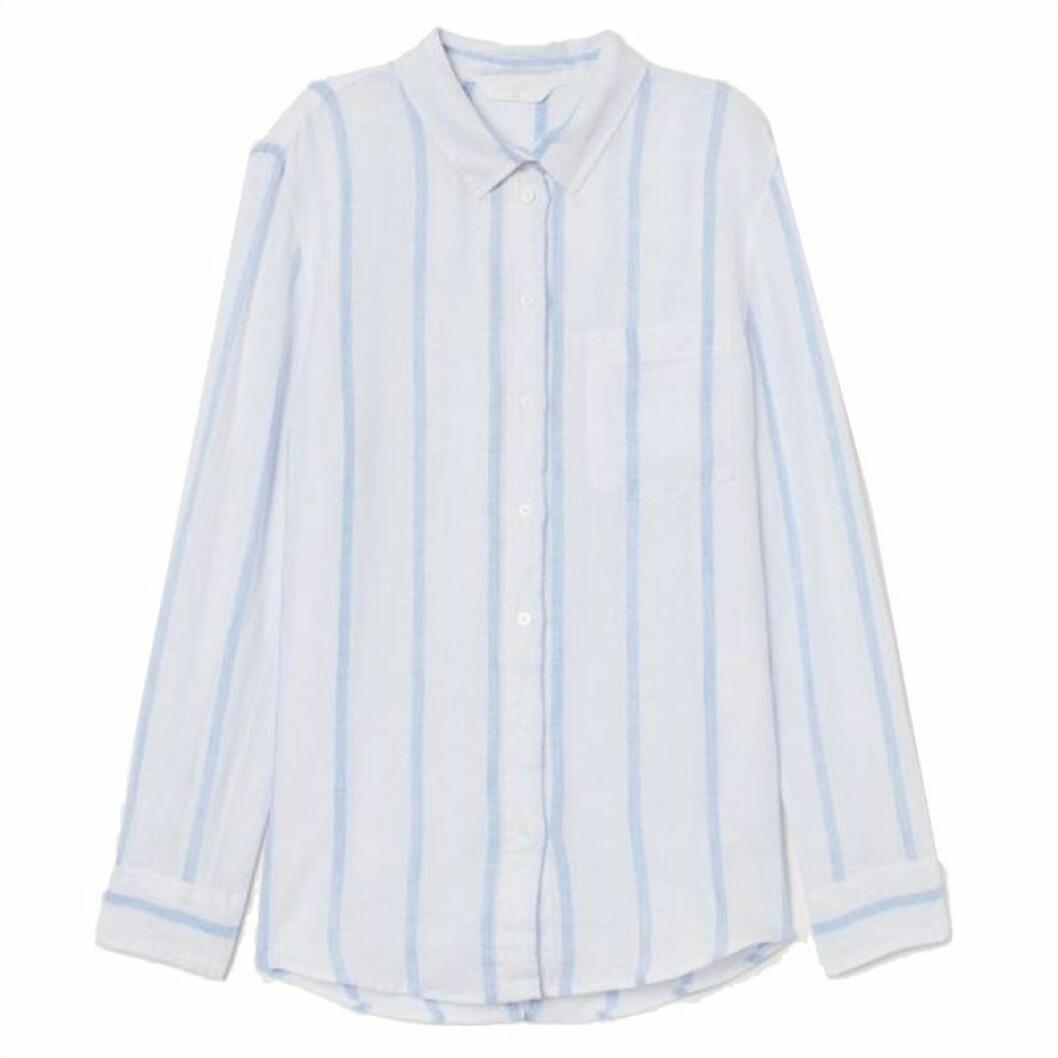 Blåvitrandig linneskjorta från H&M
