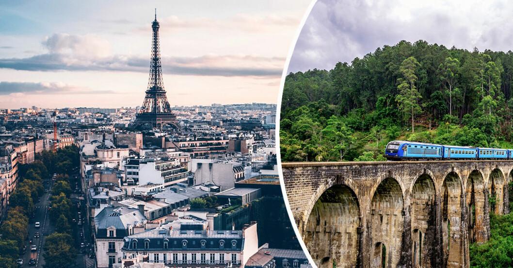 Paris och tåg på bro i djungel