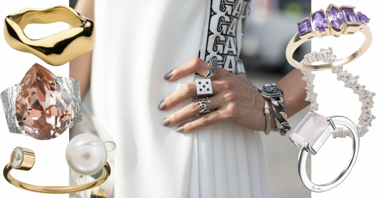 Inspirationskollage med ringar. I mitten är det en närbild på en tjejs hand med ringar och en klocka och ett armband, allt i silver.