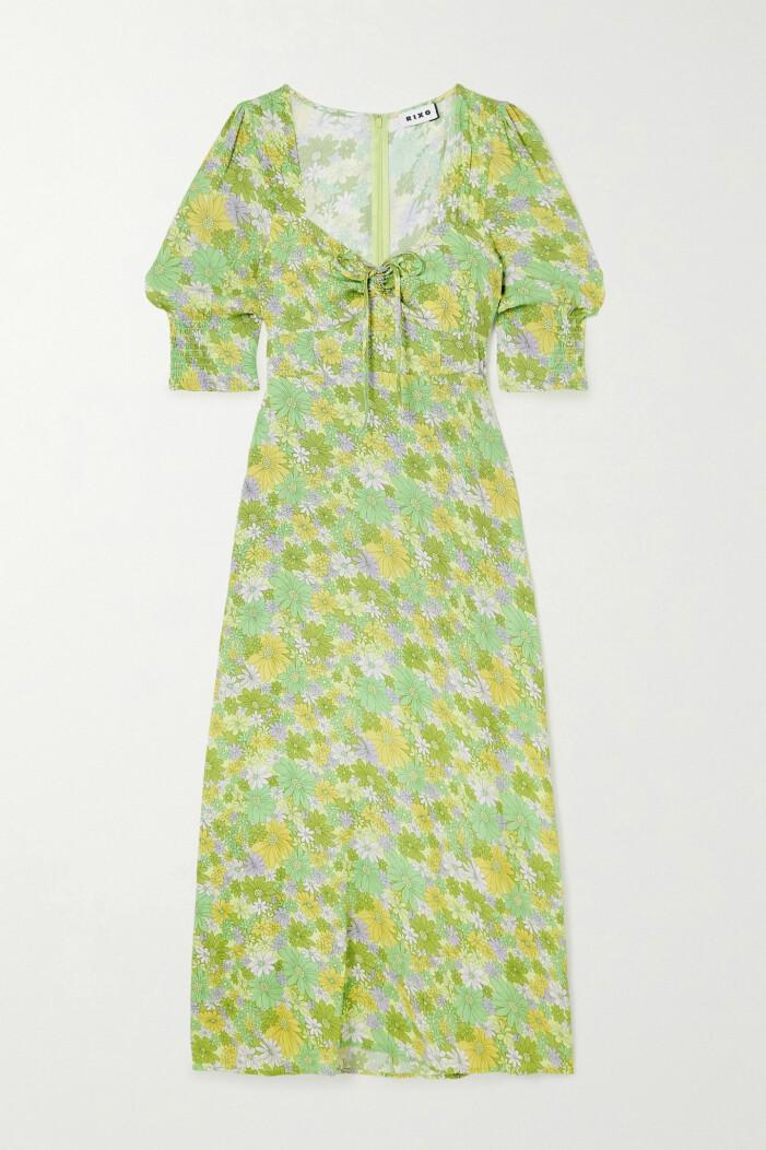 Blommig klänning i grönt Rixo