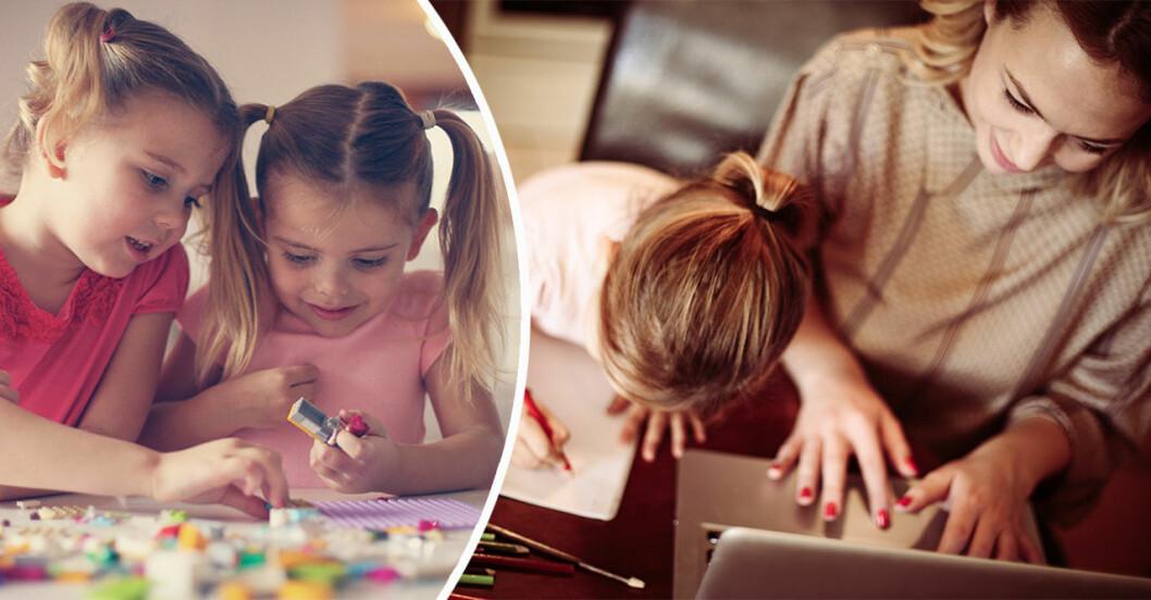Barn som leker medan mamma jobbar