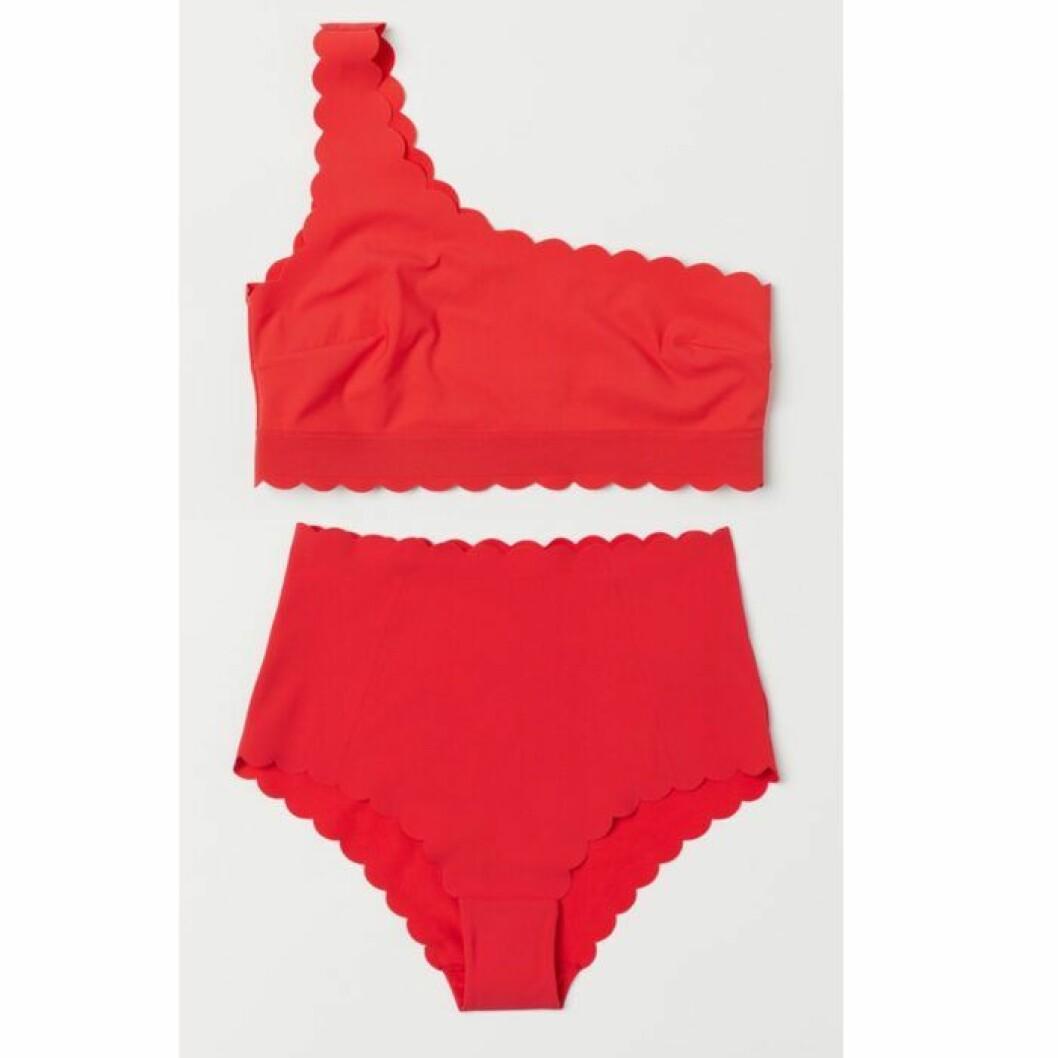 Röd one shoulder bikini