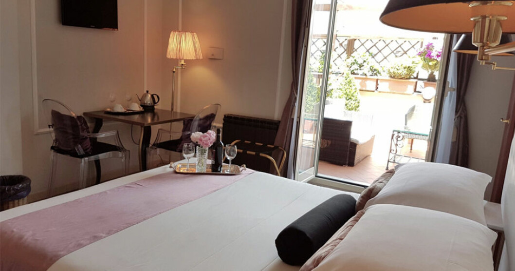Pittoreskt och romantiskt hotell i Rom med goda recensioner.