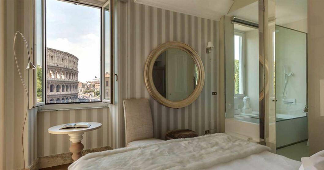 Palazzo Manfredi har utsikt mot Colosseum från de romantiska hotellrummen.