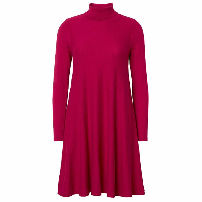 rosa stickad klänning i bomull och kashmir