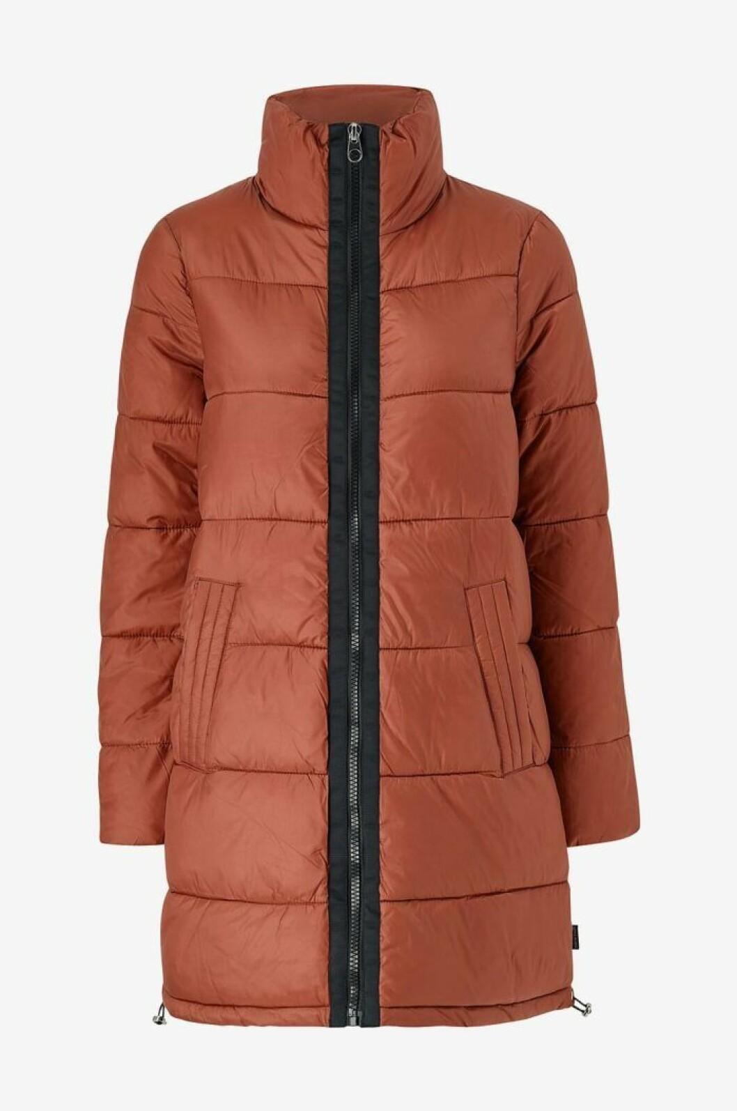 Rödbrun lång dunjacka för dam till vintern 2019