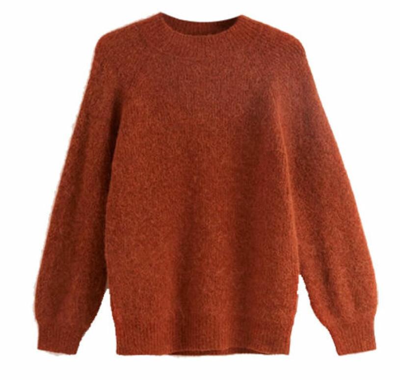 roströd stickad tröja från lindex