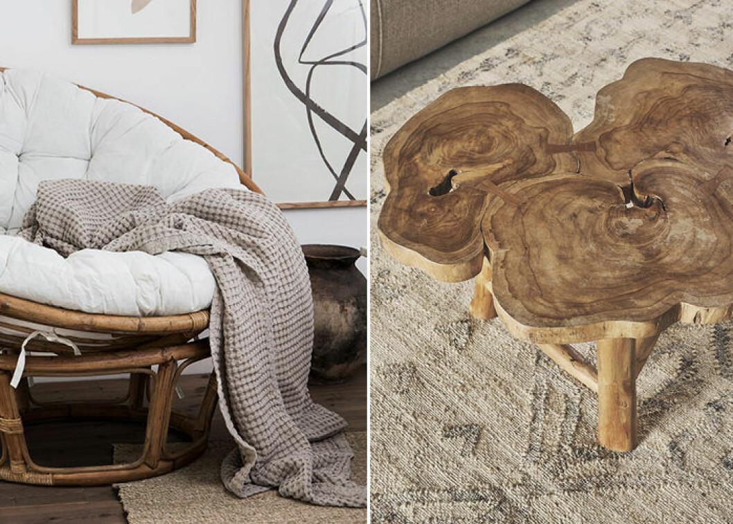 Rotting och teak är trendigt 2019 – här hos Granit och Zara Home