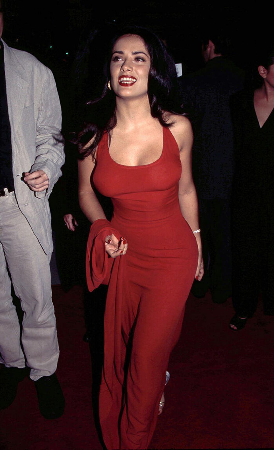En bild på skådespelerskan Salma Hayek på premiären av Desperado 1995.