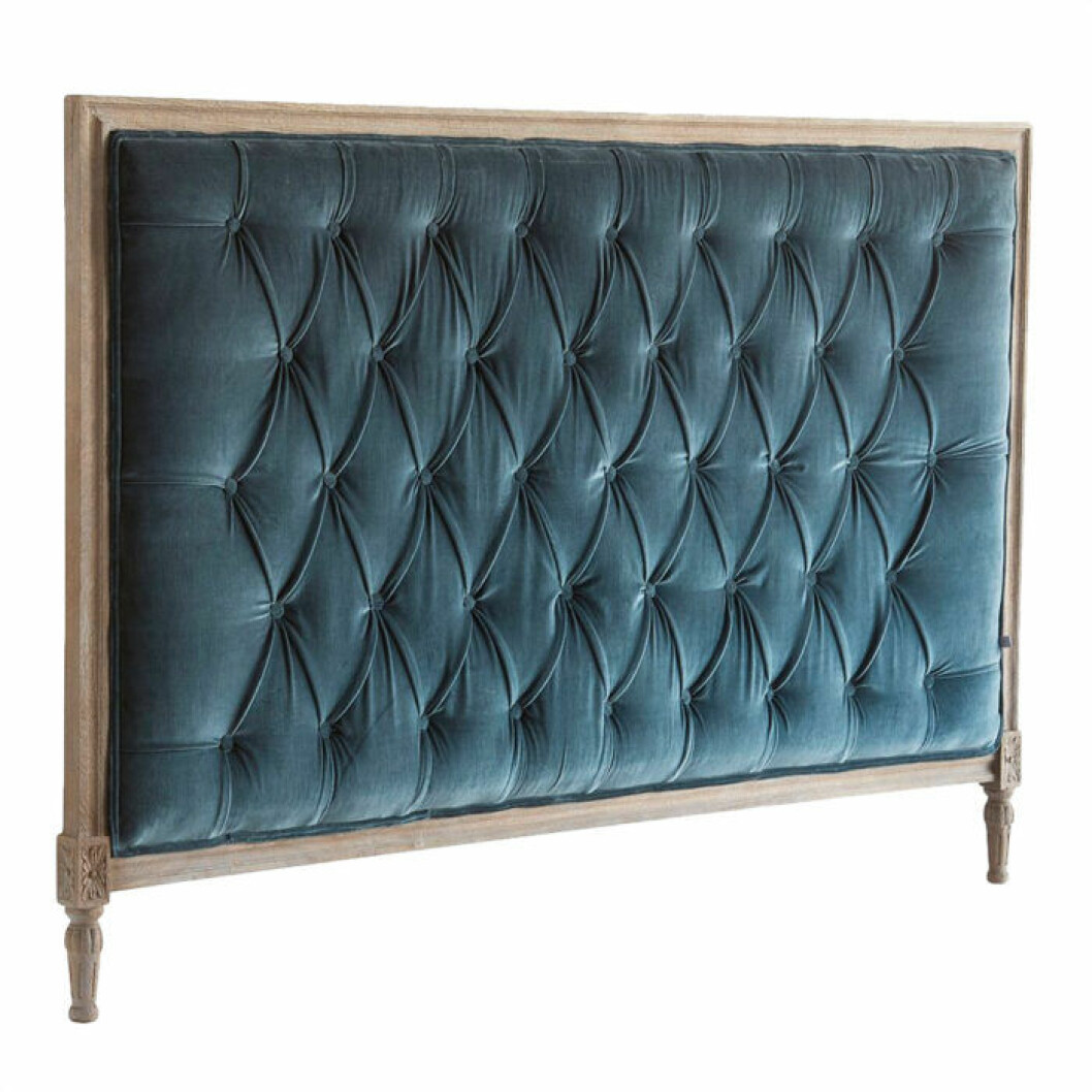 Sänggavel blå sammet