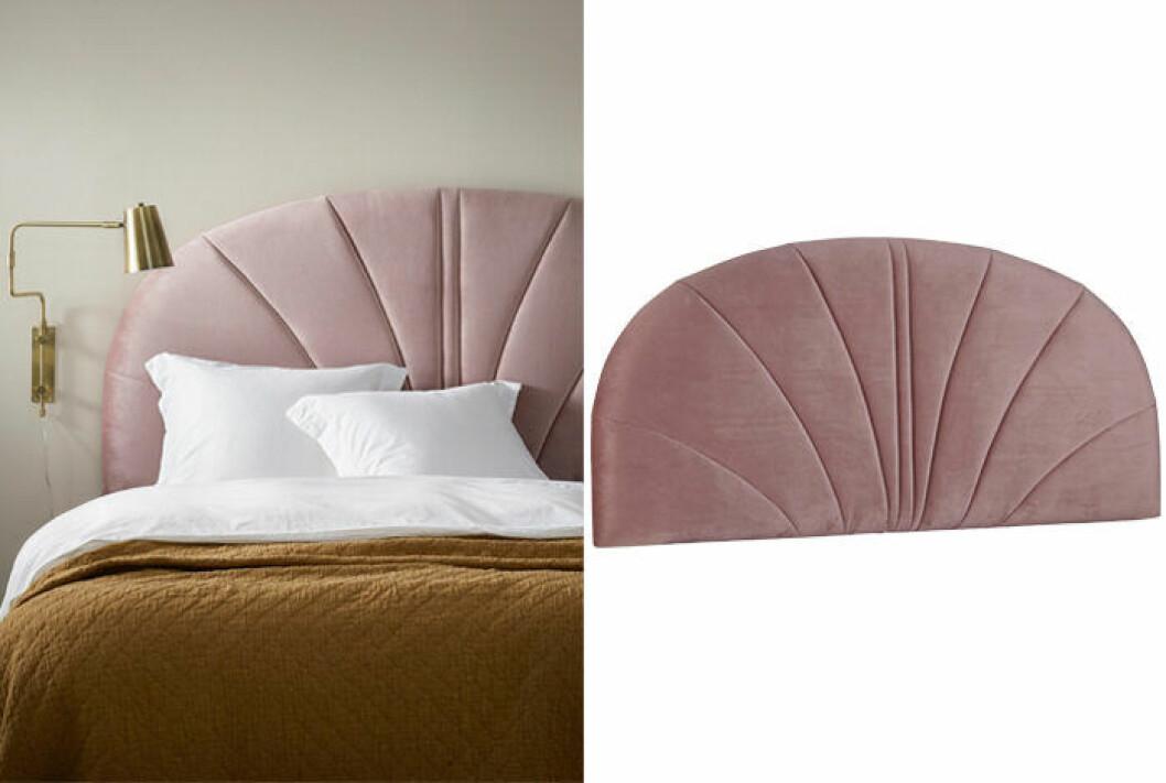 Sänggavel i rosa sammet från Ellos Home våren 2019