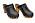Svarta träskor med bred träklack och träsula. Silverfärgade, runda nitar över foten och längs med tån. Träskor från Sanita.