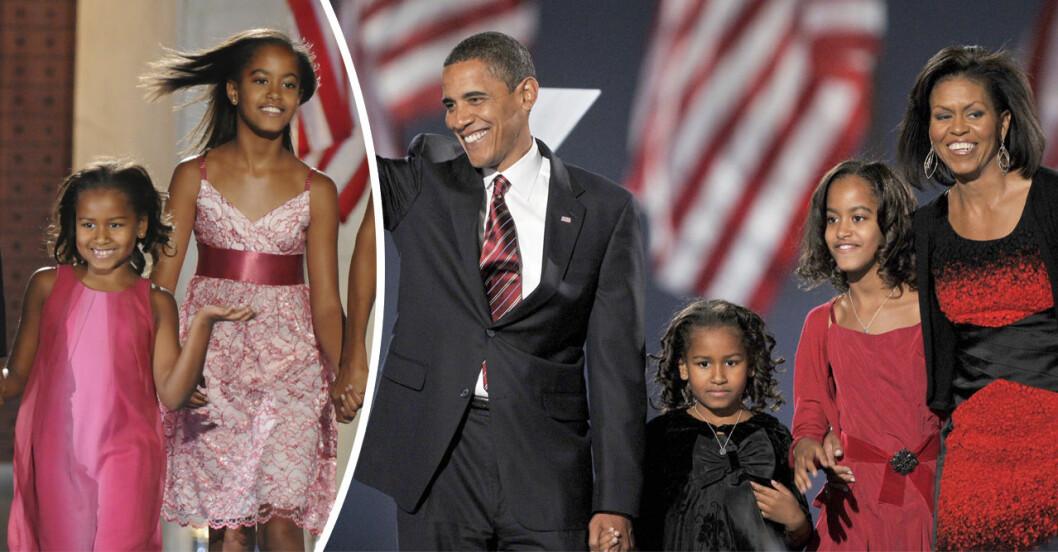 Familjen Obama ser glada ut och vinkar