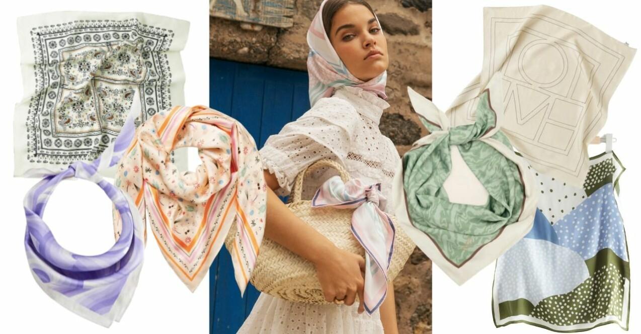 Kollage med olika scarfs som beskrivs närmare i artikeln nedan.
