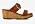 Sandaler i brunt skinn med två remmar och runt spänne över foten. Träklack i kilklacksmodell. Träsandaler från Scholl.