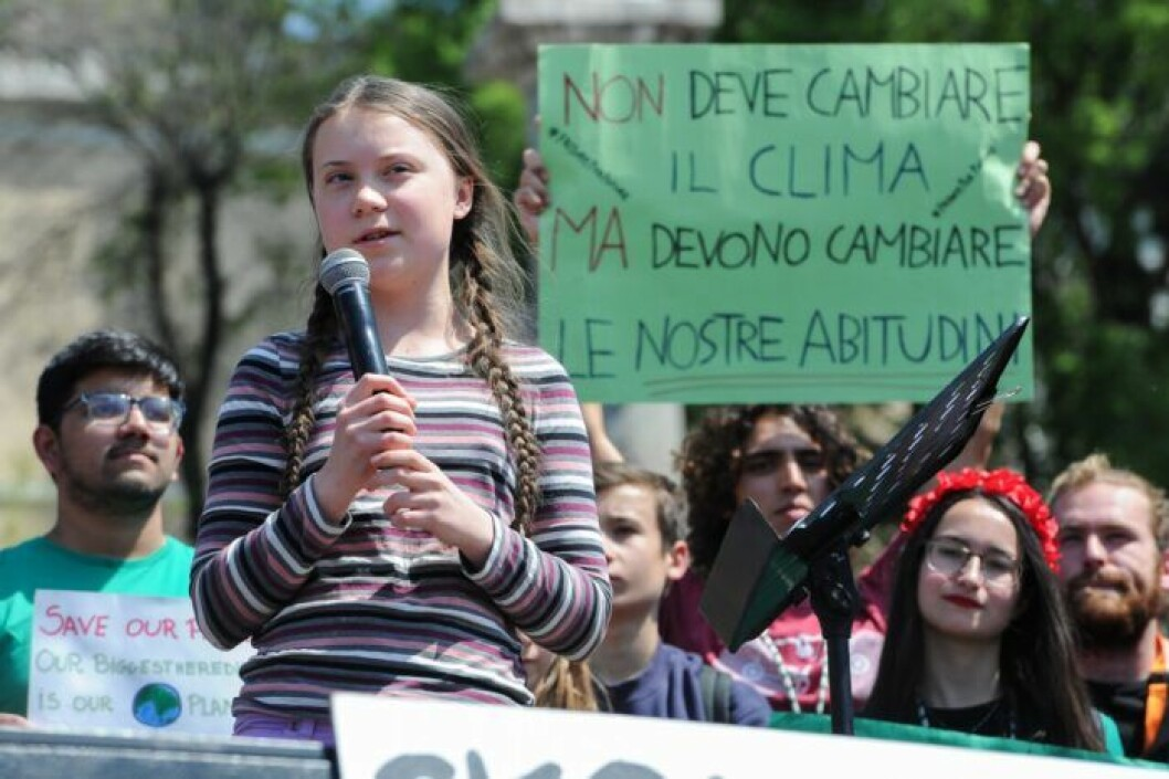 Greta Thunberg, klimataktivist, medverkar vid en klimatdemonstration i Rom.