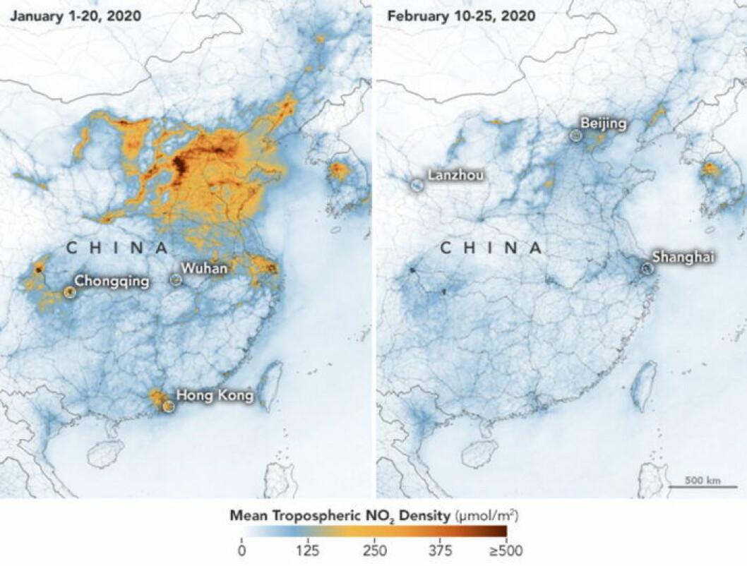Satellitbild över minskade kvävedioxidutsläpp i Kina.