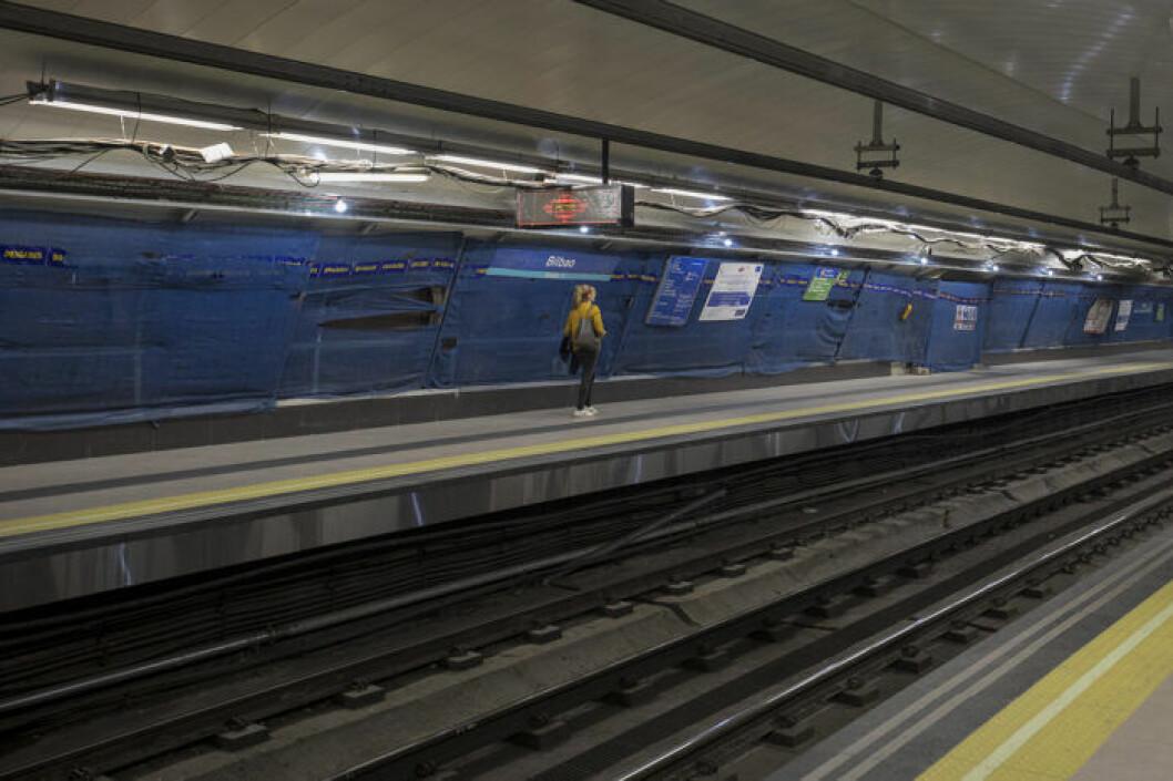 Tom tågstation i Madrid i Spanien