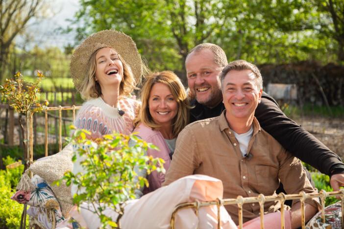 Pernilla Månsson Colt, Tareq Taylor, John Taylor och Malin Persson är redo för Trädgårdstider i SVT.