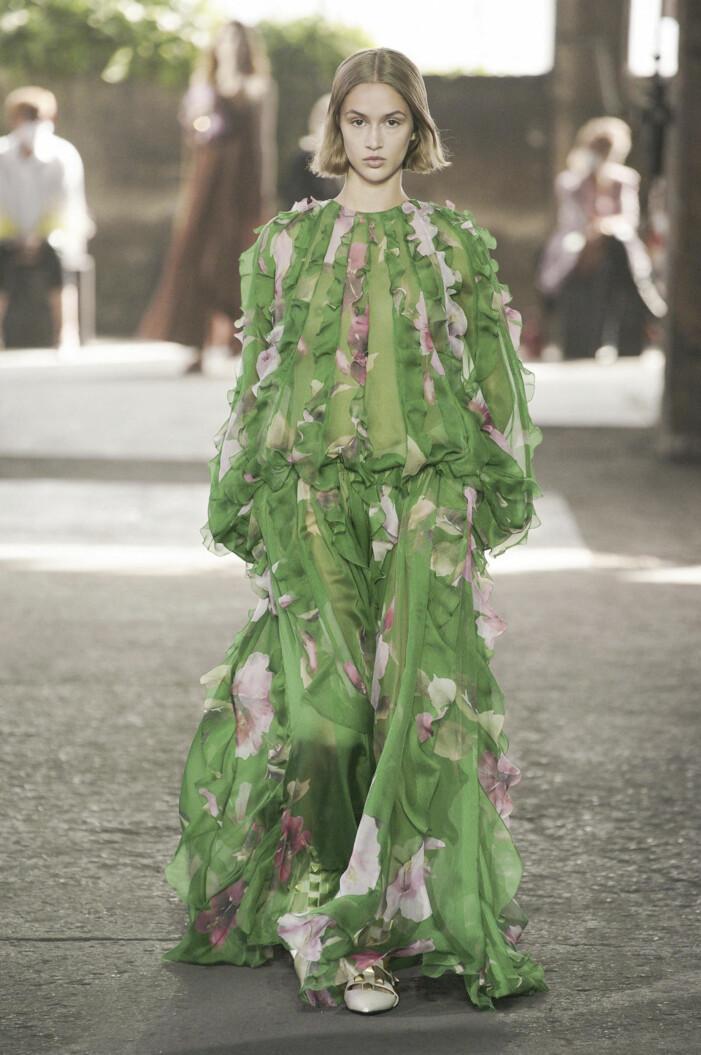 Valentino Grön klänning med blommiga detaljer