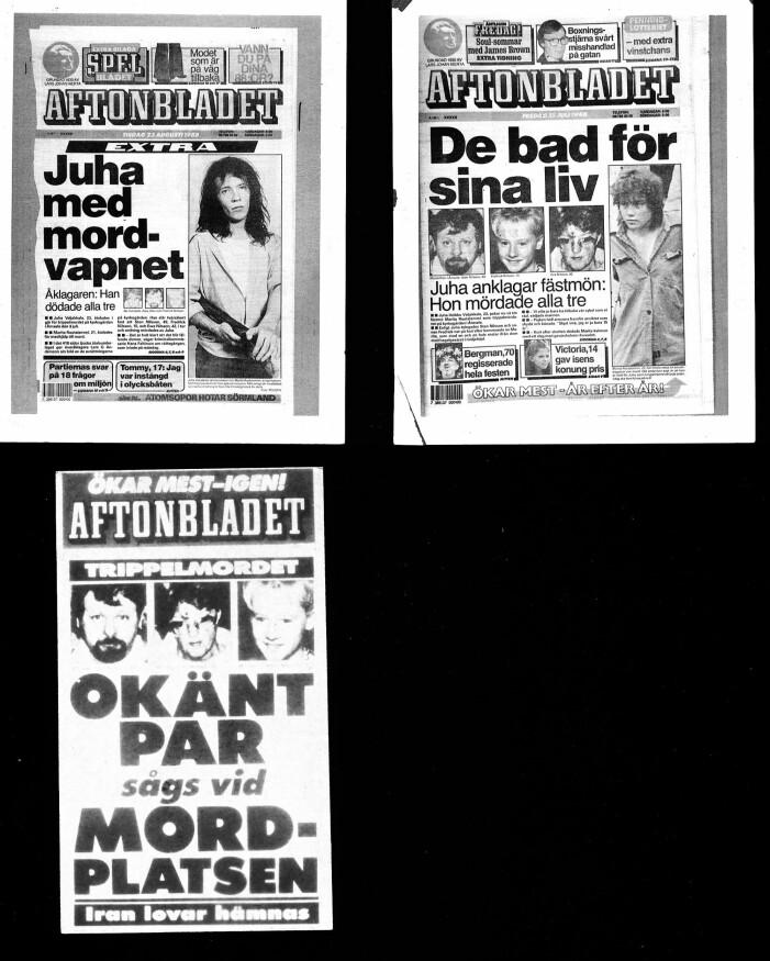 Förstasidor från Aftonbladet kring morden i Åmsele 1988.