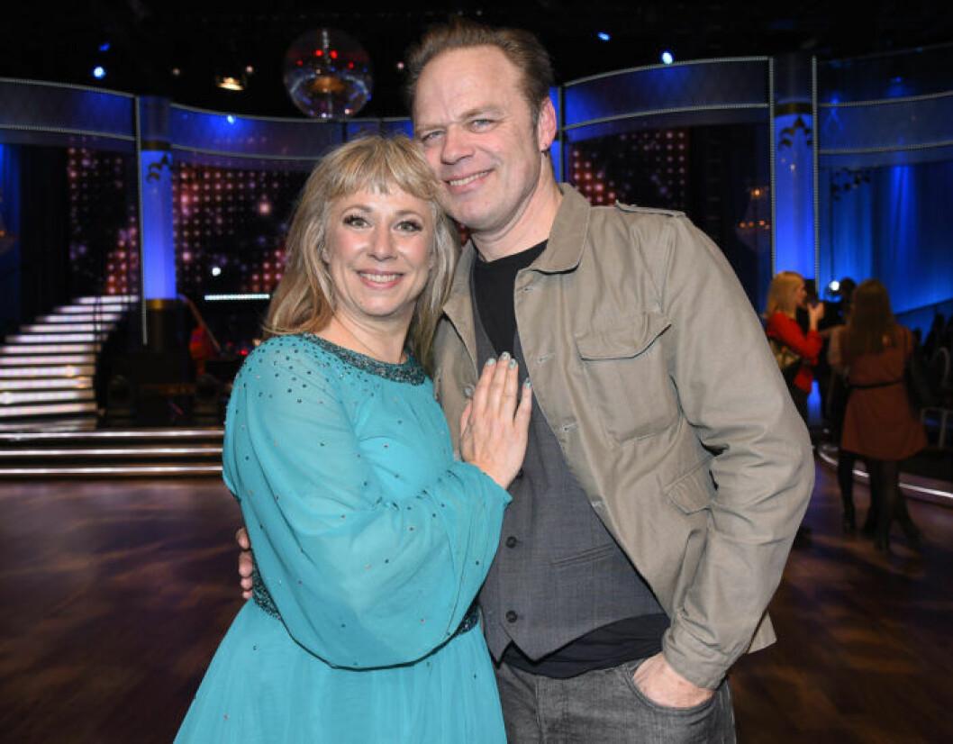 Stina Wollter med sin sambo Micke Olsson i Let's Dance 2017