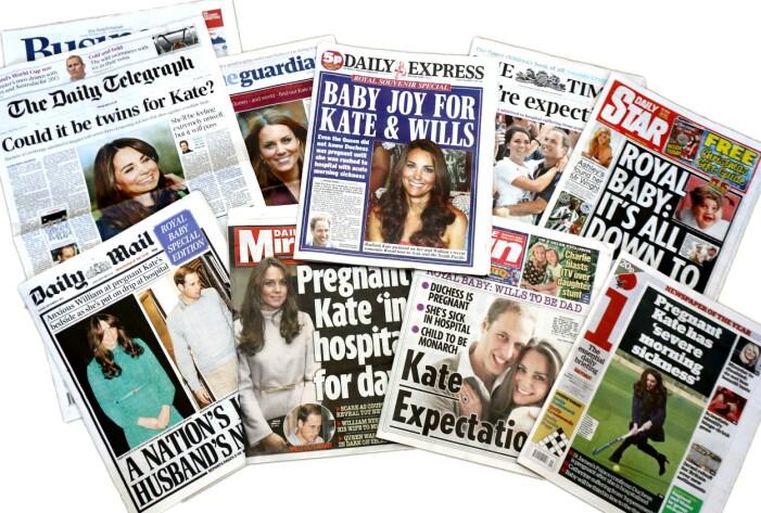 tidningar med rubriker om att kate middleton är gravid