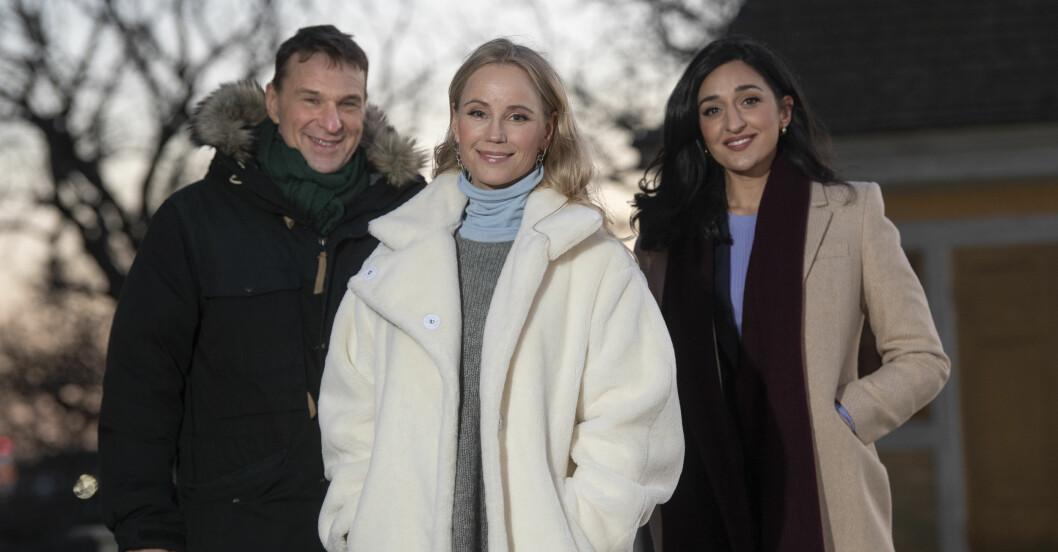 Anders Lundin, Sofia Helin och Parisa Amiri håller i firandet av nyårsafton på Skansen.