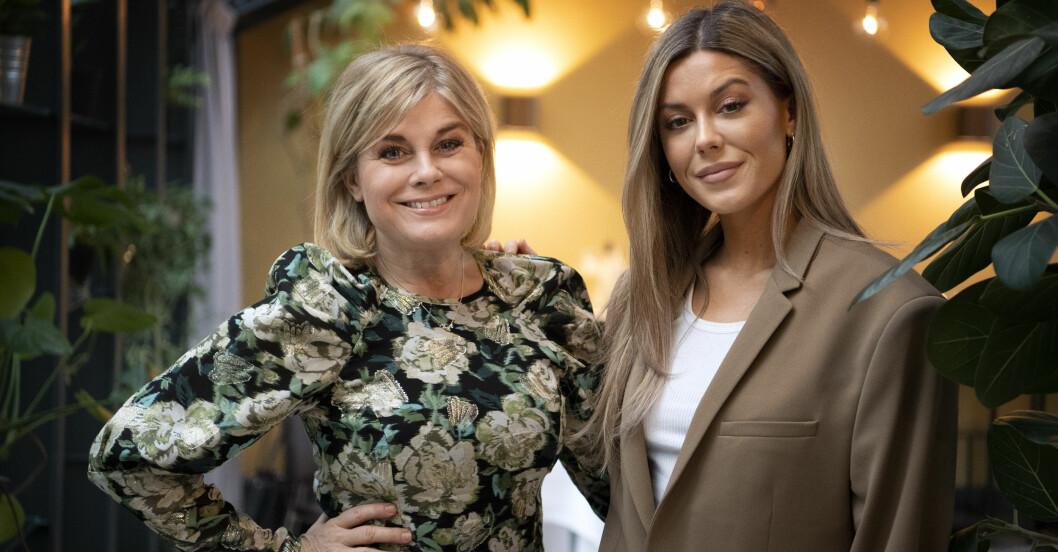 Pernilla Wahlgren och dottern Bianca Ingrosso under en pressträff för deras tv-serie Wahlgrens värld.