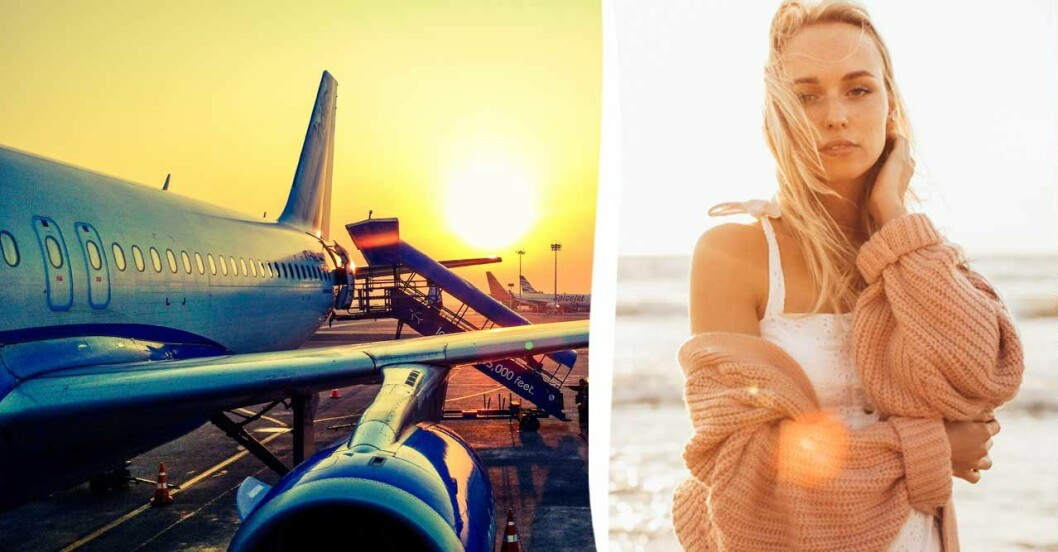 Kvinna i cardigan, flygplan