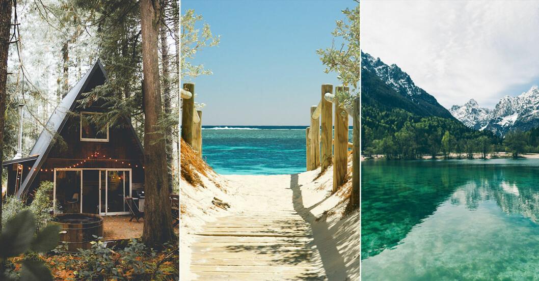 strand, sjö i bergen och stuga i skogen