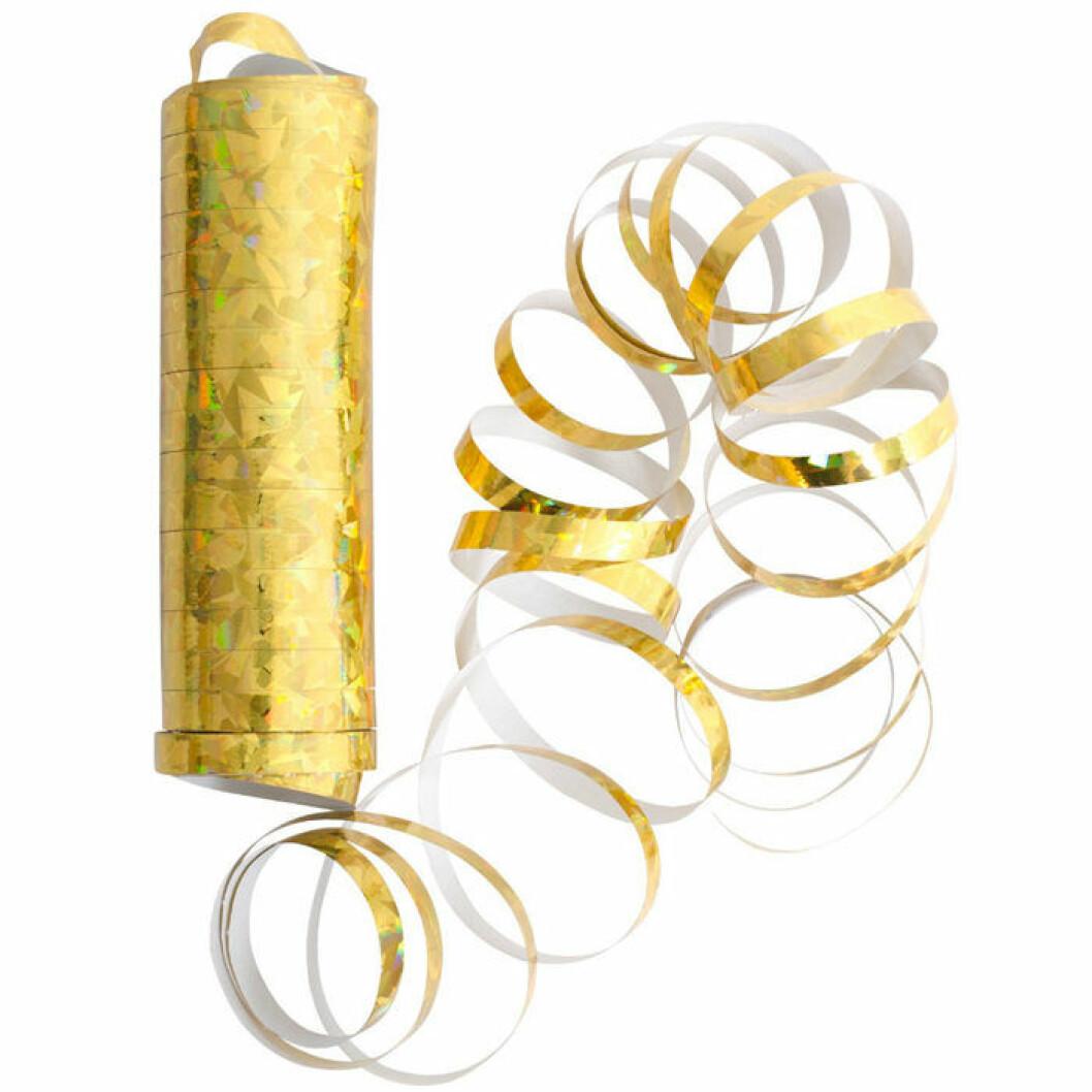Guldfärgade serpentiner till nyårsfesten, från Lagerhaus