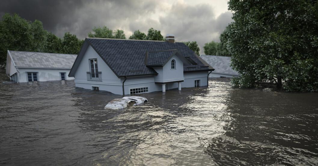 Översvämmade hus