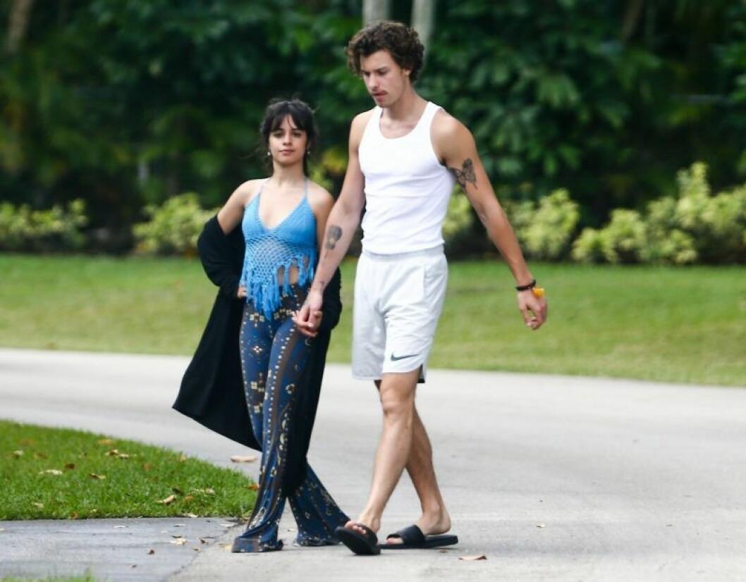 Shawn Mendes och Camila Cabello går promenad i mjukiskläder