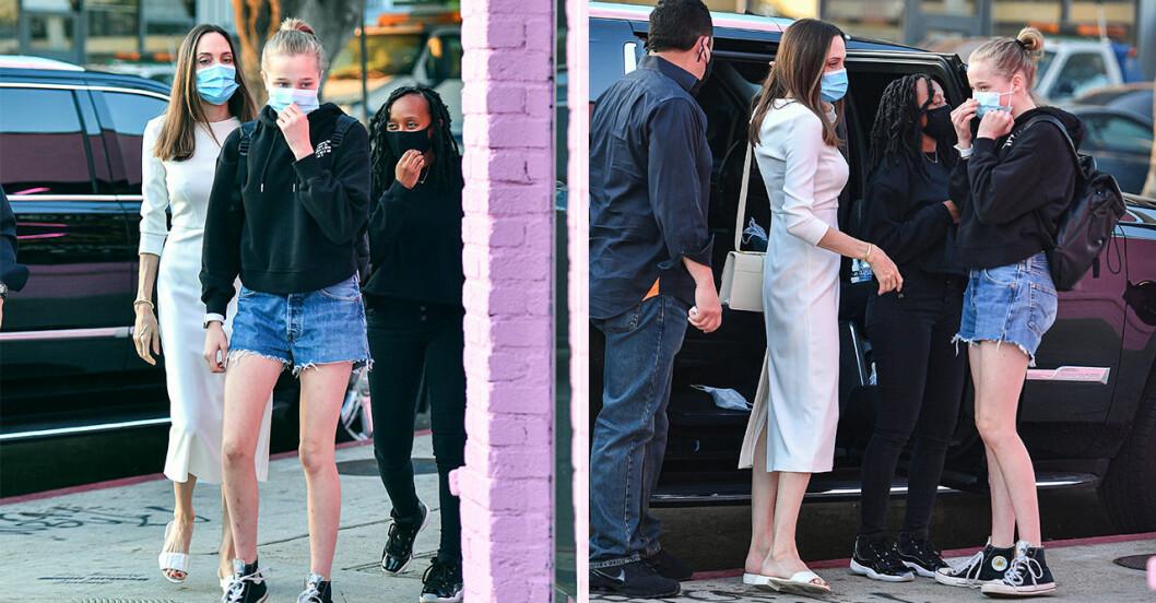 Angelina Jolie tillsammans med döttrarna Shiloh och Zahara Jolie-Pitt under en shoppingtur.