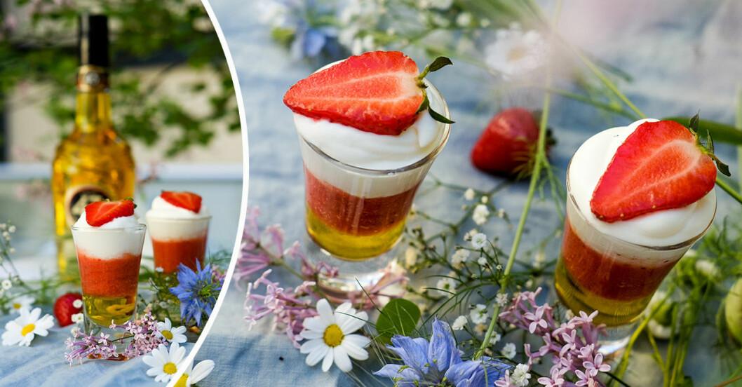 Shots som smakar jordgubbstårta