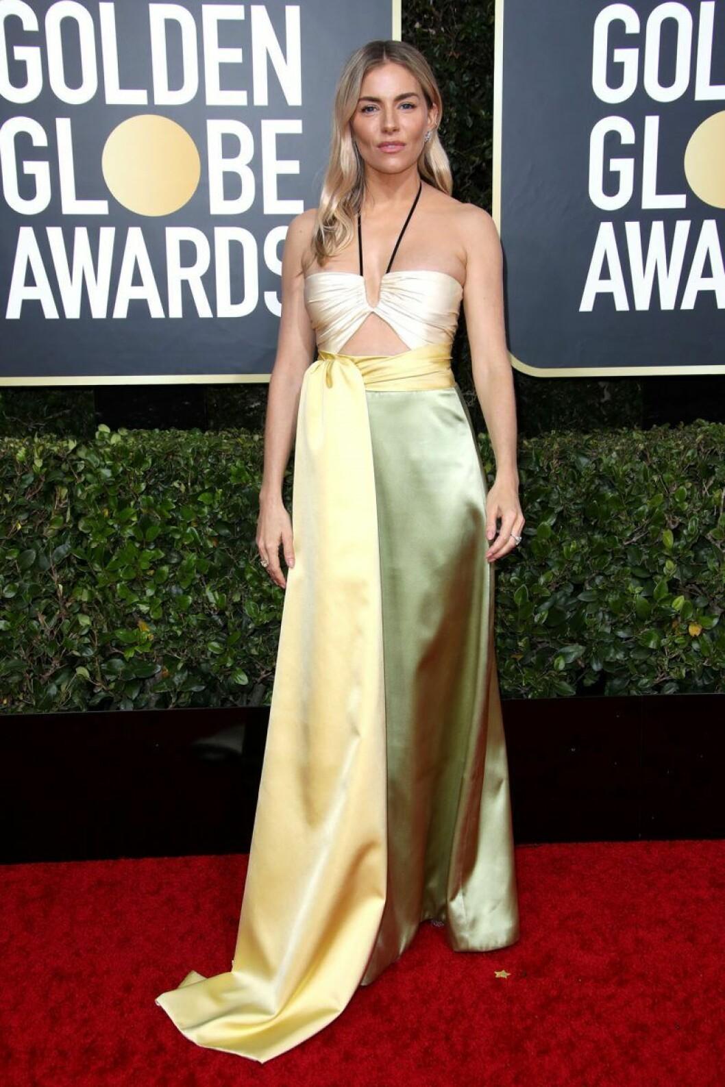Sienna Miller på Golden Globes.