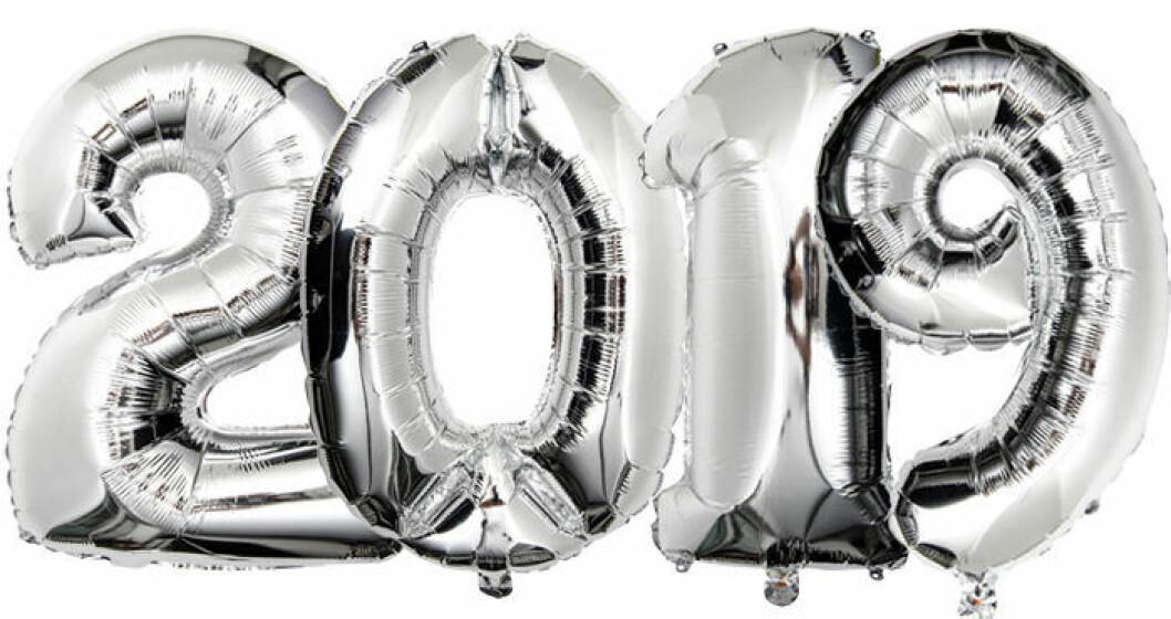 Folieballonger med siffrorna 2019 till nyår