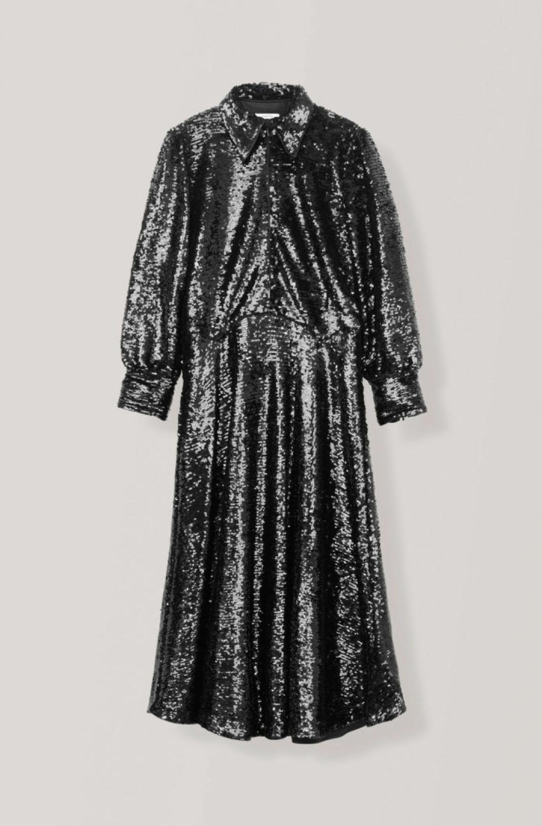 Svart skjortklänning med paljetter med lång ärm från Ganni