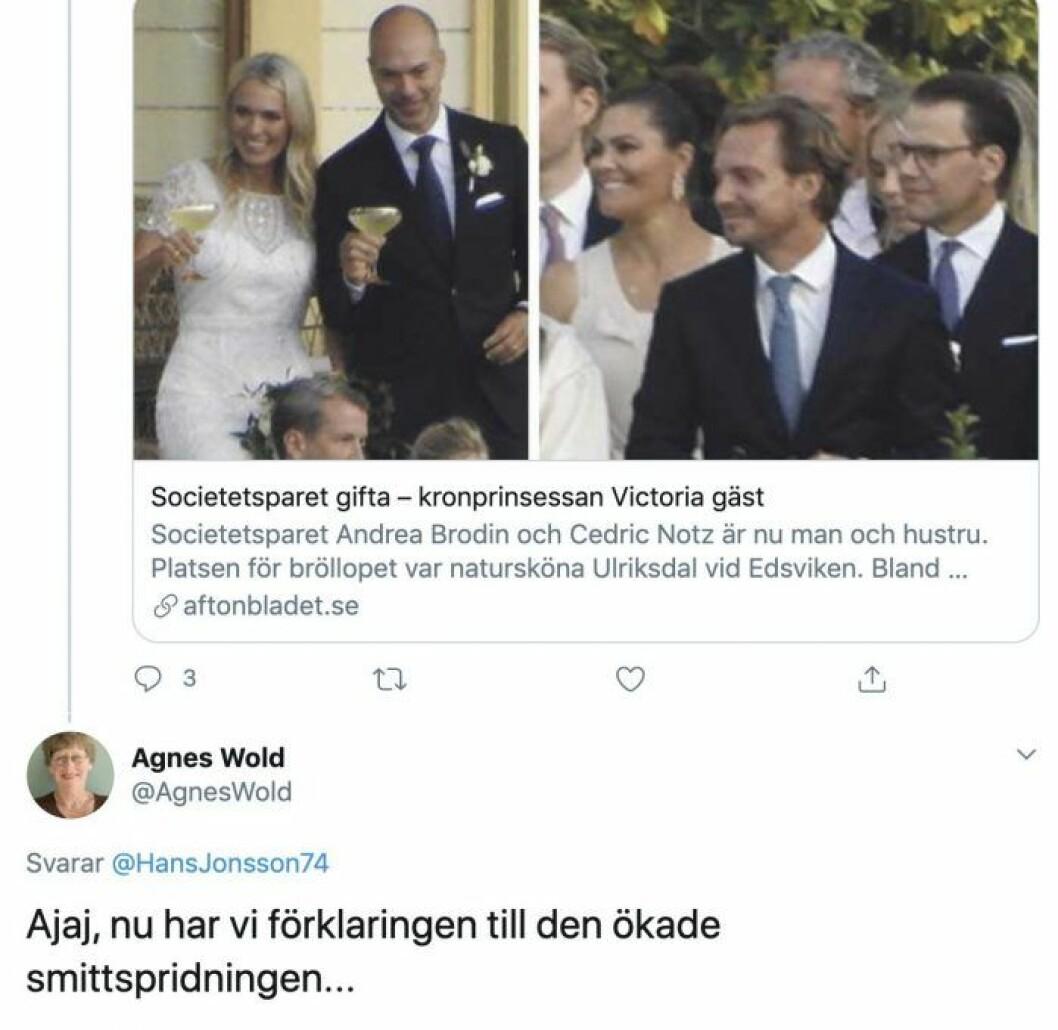 Agnes Wold delade ut ett litet tjuvnyp på Twitter.